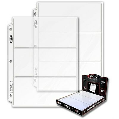 10 - 3 1/2 x 8 Currency Dollar Page Protectors by BCW Pro3C  fits 3 ring binders