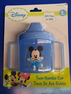 Mickey Mouse Disney Plastic Twin Handle Sippy Cup Baby Shower Party Gift - Blue