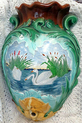 French Majolica Wall Mounted Lavabo Water Holder Bowl Swans Circa 1890