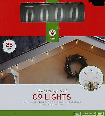 25 Clear Transparent C9 Lights Green Wire Lighted Length 24 ft Indoor/Outdoor