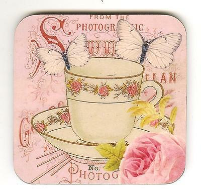 Pink Tea Cup Large Coaster By Claryce Designs
