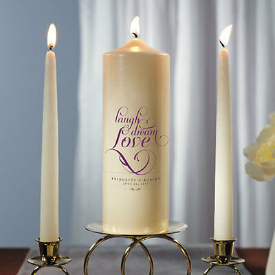 Expressions Personalized Unity Candle Ceremony White or Ivory Wedding Candles