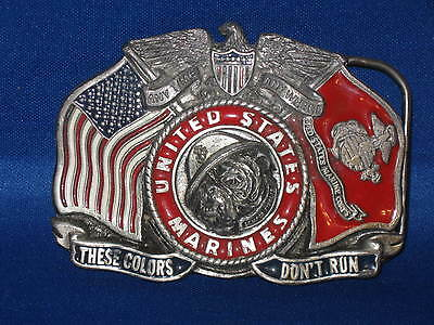 UNITED STATES MARINE vintage BELT BUCKLE The Great American Buckle USA