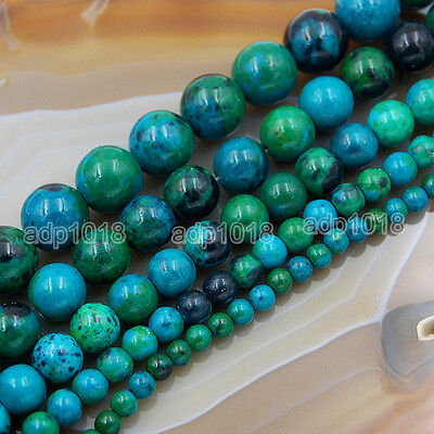 """Chrysocolla Gemstone Round Loose Spacer Beads 15"""" 4mm 6mm 8mm 10mm 12mm 14mm 16m"""