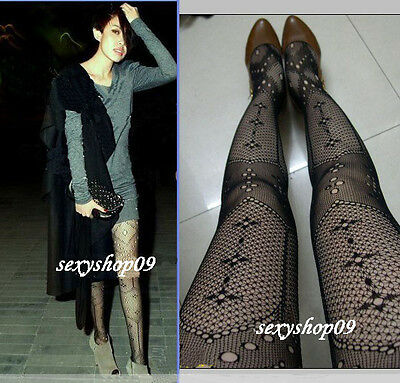 Hot Sexy Black Lace Fishnet Pantyhose jacquard Leggings Tights stocking fashion