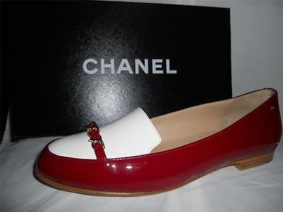 CHANEL 12A Two Tone Patent Leather Chain Loafers Moccasins Flat Shoes $825