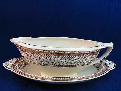 J & G MEAKIN - Westminster Rose Border - GRAVY BOAT & UNDERPLATE - chip - 43E