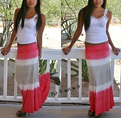 Fold Over Waist Coral Taupe Ombre Striped Tie Dye Long Maxi Knit Skirt S M L Usa