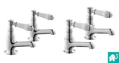 Victorian Traditional Bathroom Twin Basin Bath Shower Filler Chrome Tap Set