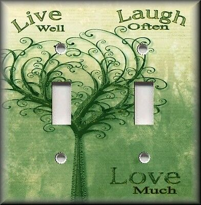 Metal Light Switch Plate Cover - Live Laugh Love Home Decor Green Vintage Tree