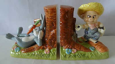 Warner Brothers 1981 Gorham Bugs Bunny and Farmer Porky Pig Bookends  #F441