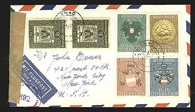 Austria: Sc. B264-B267 on censored airmail cover to US