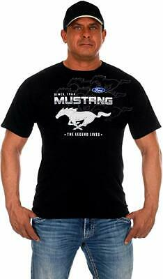 Men's Ford Mustang T-Shirt Black 2-sided Collage Logos MUS803CLG0BLK