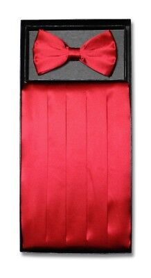 SILK Cumberbund & BowTie Solid RED Color Men's Cummerbund Bow Tie Set