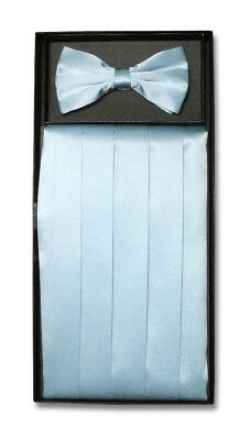 SILK Cumberbund & BowTie Solid BABY BLUE Color Men's Cummerbund Bow Tie Set