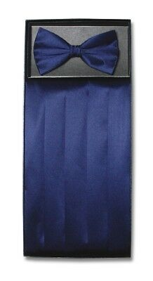 SILK Cumberbund & BowTie Solid NAVY BLUE Color Men's Cummerbund Bow Tie Set