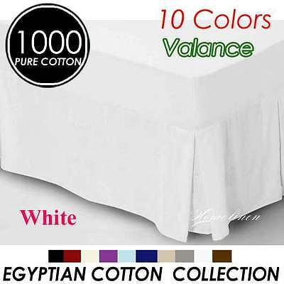 1000TC Egyptian Cotton High Quality Valance Queen Size-White