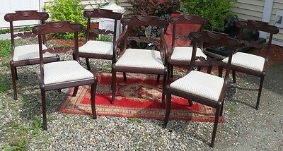 Regency Set Of 7 Philadelphia Mahogany Chairs With Slip Seats Circa 1830