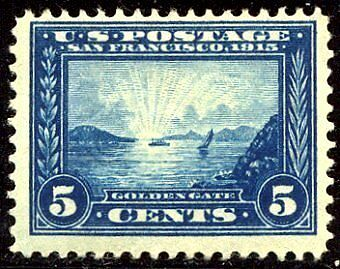 """US #399 MINT-OG 1913 5c """"PANAMA-PACIFIC"""" EXPO ISSUE"""
