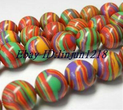 10mm Striped Turkey Turquoise Gems Round Loose Bead 15'' AAA Q-32