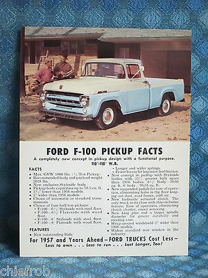 1957 Ford Truck F-100 Pickup NOS Postcard Folder Full Color