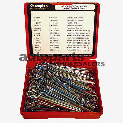 CHAMPION SPLIT PINS COTTER PINS LARGE DIAMETRE ASSORTMENT KIT  (93 Pieces)