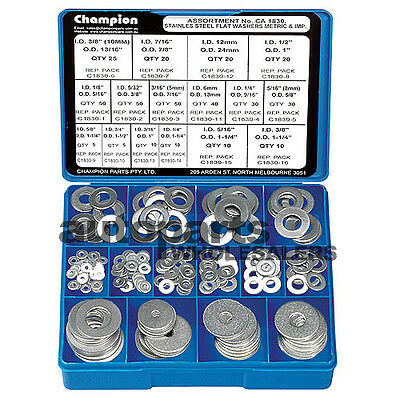 CHAMPION 304 STAINLESS STEEL FLAT WASHERS ASSORTMENT KIT (385 Pieces)