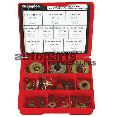 CHAMPION HIGH TENSILE FLAT STEEL WASHERS ASSORTMENT KIT (175 Pieces)