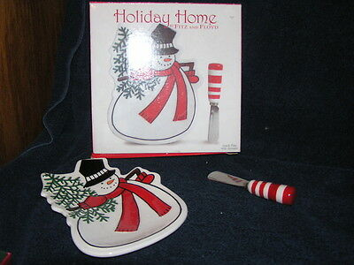 HOLIDAY HOME FITZ AND FLOYD 2007 SNOWMAN SNACK PLATE WITH SPREADER