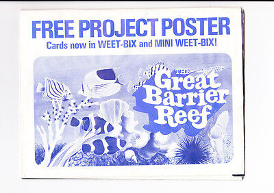 1970's WEET-BIX CEREAL POSTER w SET OF 20 CARDS THE GREAT BARRIER REEF