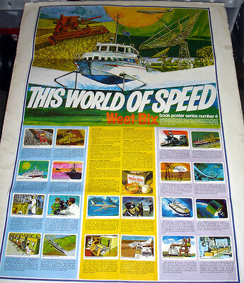 1970's WEET-BIX CEREAL POSTER w SET OF 20 CARDS THIS WORLD OF SPEED