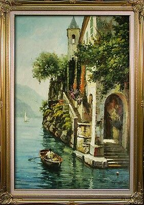 "Venice Buildings River Street Boat City Art oil painting on Canvas 24""x36"" V9"