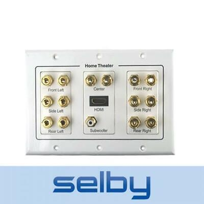 HDMI & 7.1 Speaker Cable Wall Plate for Surround Sound Speakers