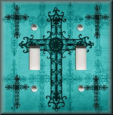 Metal Light Switch Plate Cover Old World Crosses Turquoise Cross Home Decor
