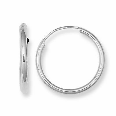 14k White Gold Hoops Continuous Endless Hoop Earrings 1.25mm Wide