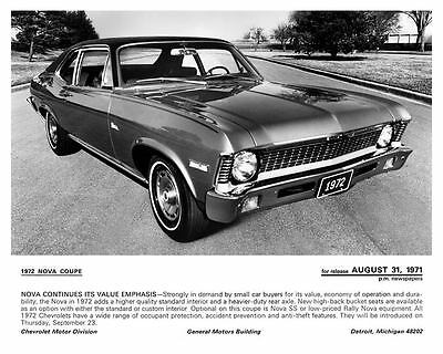 1972 Chevrolet Nova Automobile Photo Poster zc4805-7NI4JQ