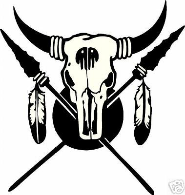 shield buffalo skull  / vinyl sticker / western decal