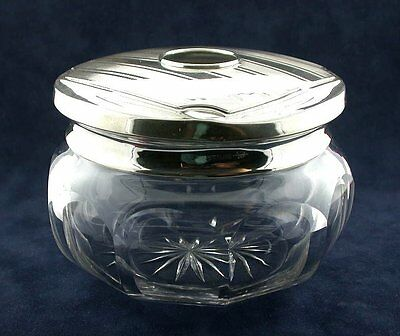 ANTIQUE VICTORIAN 1900's STERLING SILVER HAIR RECEIVER CRYSTAL GLASS JAR