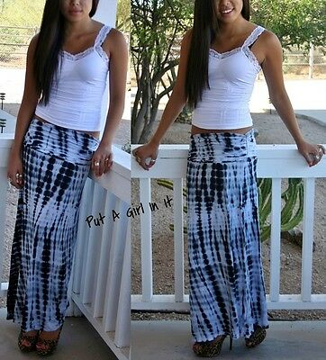 Fold Over Waist Ruched Black Bamboo Tie Dye Boho Bohemian Long Maxi Skirt S M L