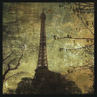 12x12 PARIS FRANCE ART PRINT - Eiffel Tower by John W. Golden French Poster