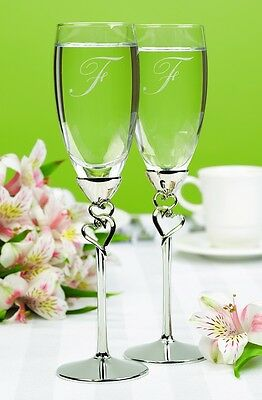 Entwined Hearts Personalized Wedding Toasting Flutes (10011)