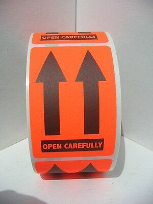 OPEN CAREFULLY THIS END UP POINTING ARROWS  2x3 warning label sticker 250/rl