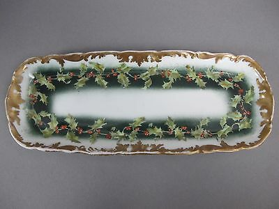 Stunning Limoges Holly Relish or Cracker Tray