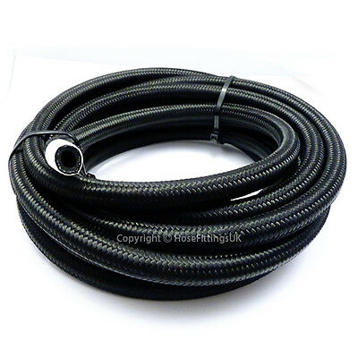 "AN -6 AN6 5/16"" 8MM Black NYLON Braided RUBBER Fuel Oil Hose Pipe 1 Metre"