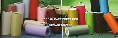 "6"" TOP Quality ORGANZA SHEER Roll 25 YDS CHOOSE From 21 COLORS"