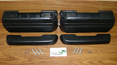 """Arm Rests Kit Black Pads Bases Bolts Screws *In Stock 11.5"""" arm rest pad"""