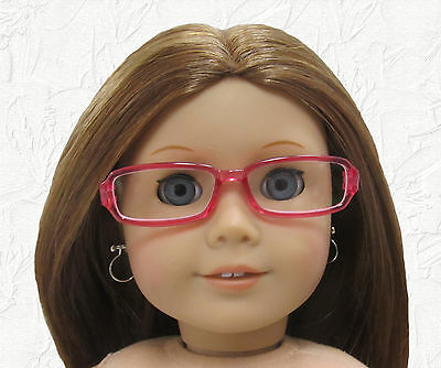 Doll Clothes Glasses Rectangular Pink Plastic Frames fit 18 inch American Girl
