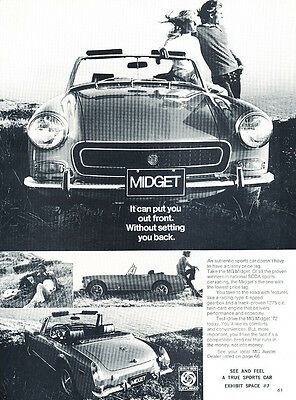 front view 1972 MG Midget Classic Car Advertisement Print Ad J94
