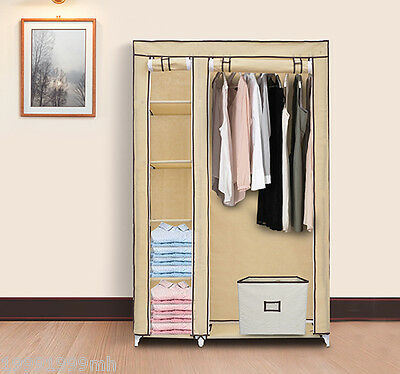 "HOMCOM 69"" Portable Closet Organizer Storage Wardrobe Clothes Rack Shelves Beige"