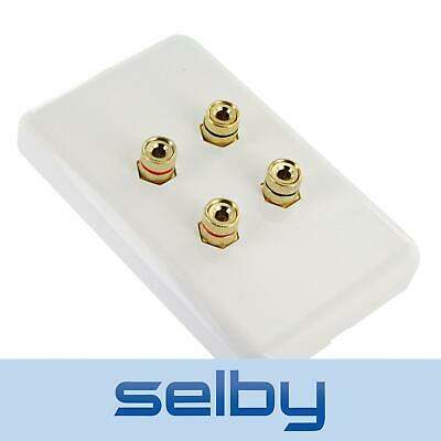 Selby Premium Speaker Cable Wall Plate Wallplate for 2 Speakers